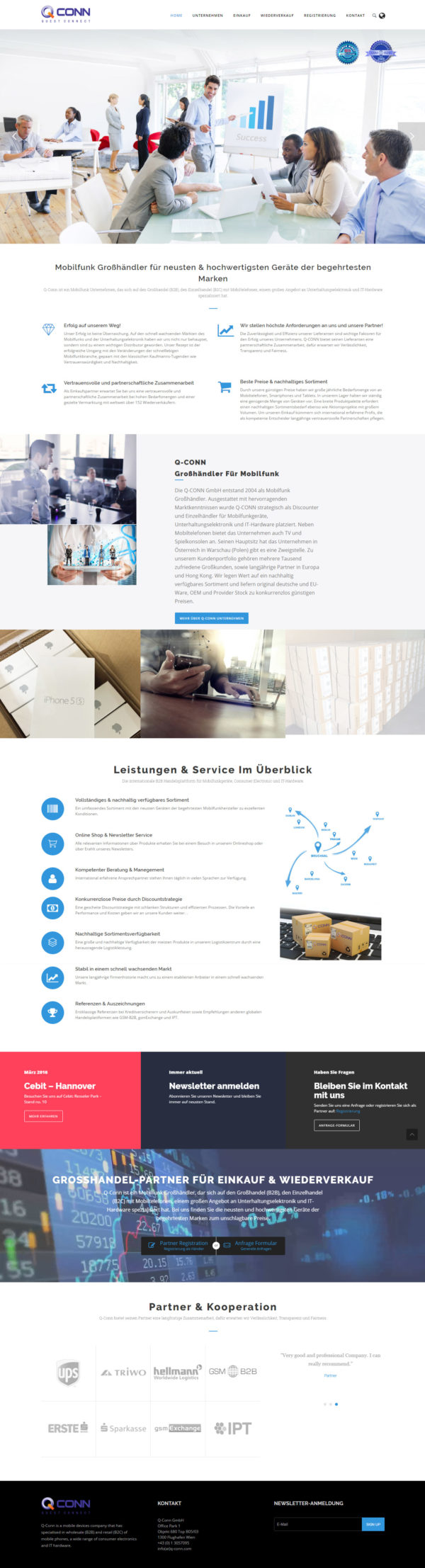 QConn Firmen Homepage – WordPress Homepage