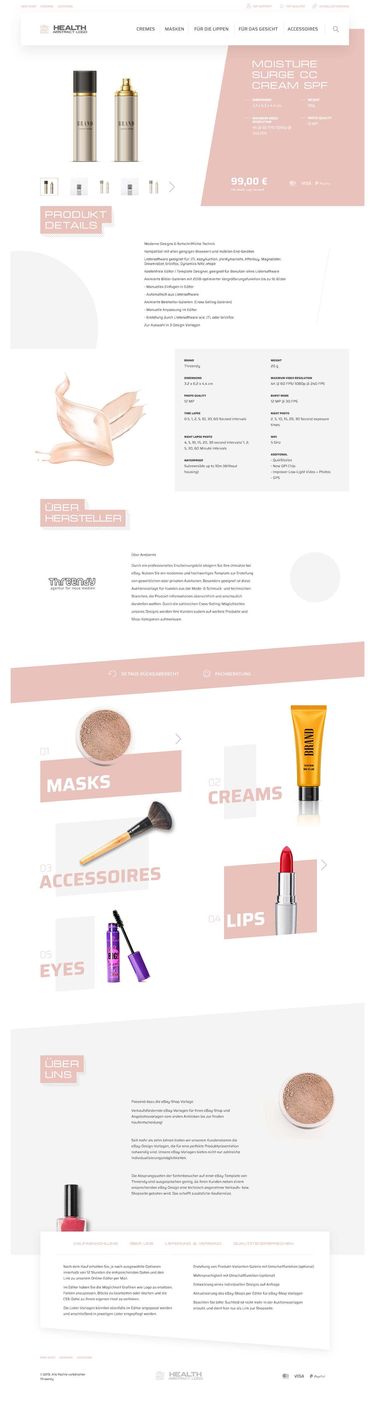 eBayvorlage für Beauty, Kosmetik & Gesundheit