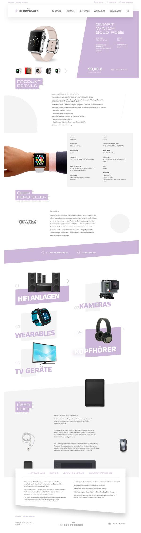 Branchen eBay Auktionsvorlage für Smartwatch & Uhren