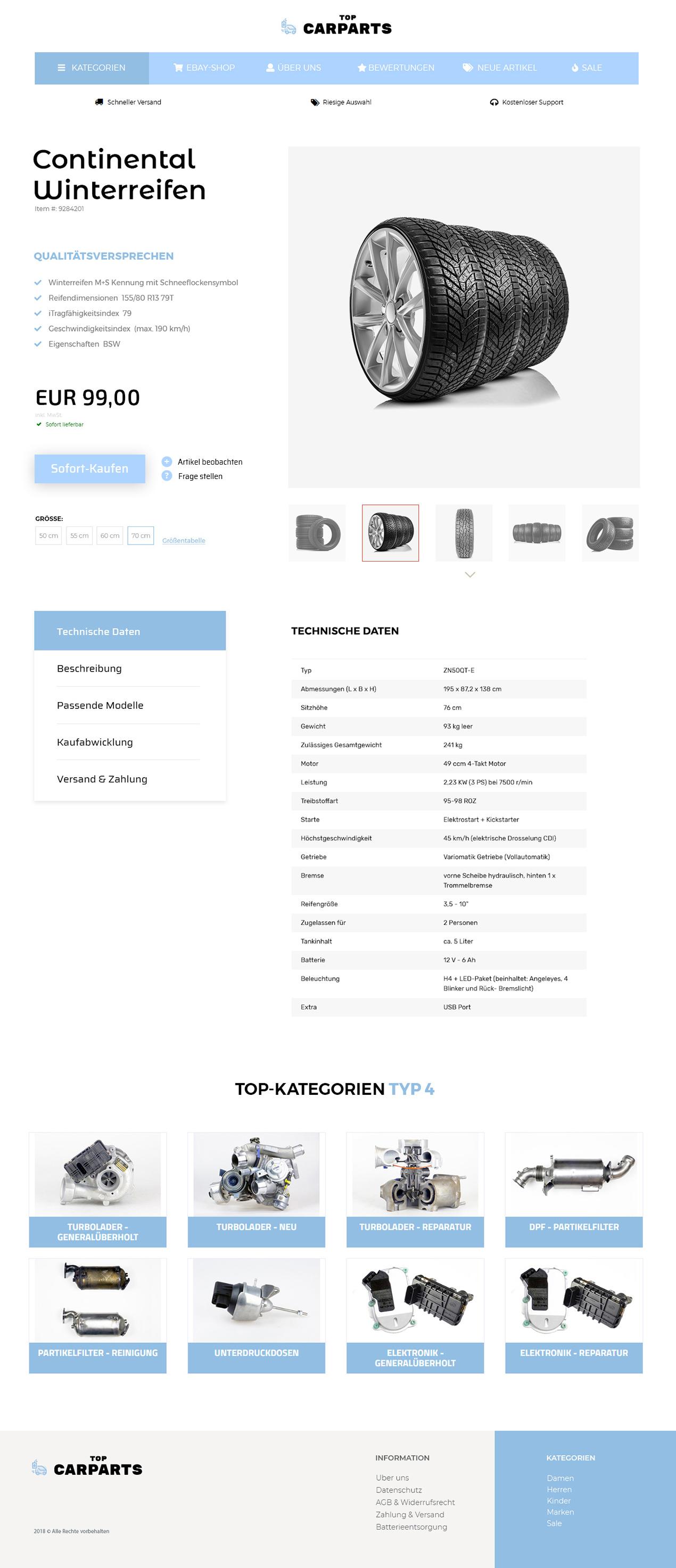 eBay Auktionsvorlage für KFZ, Auto & Motorrad Ersatzteile