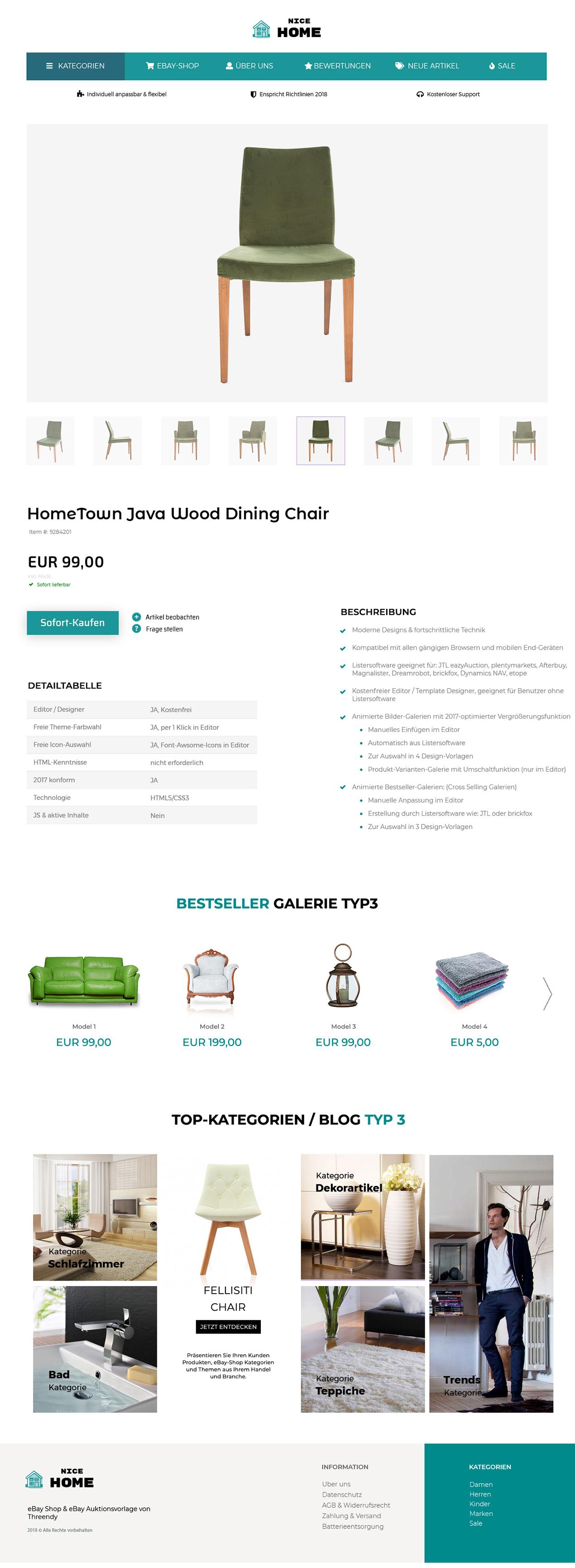 eBay-Vorlage für Haus, Garten und Lampen Branche