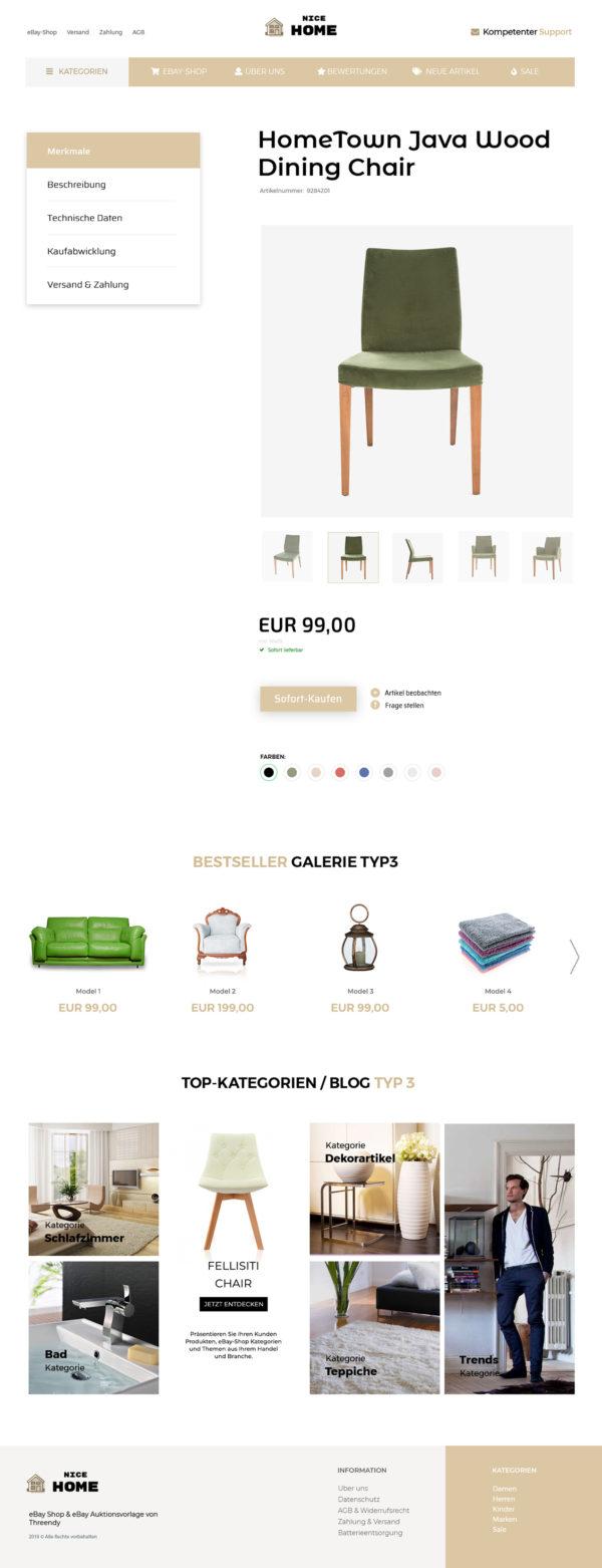 eBayvorlage für Designermöbel und Haushaltsgeräte Branche