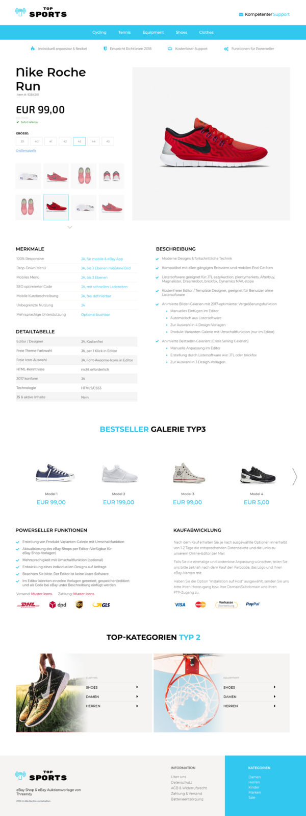 eBay-Vorlage für Sport, Freizeit & Hobby Branche