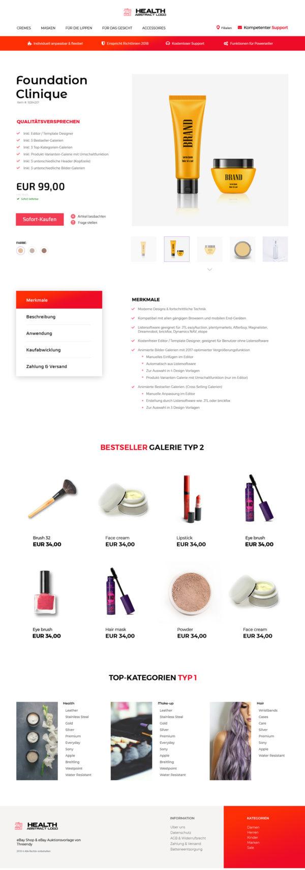 eBay-Vorlage für Beauty & Kosmetik Branche