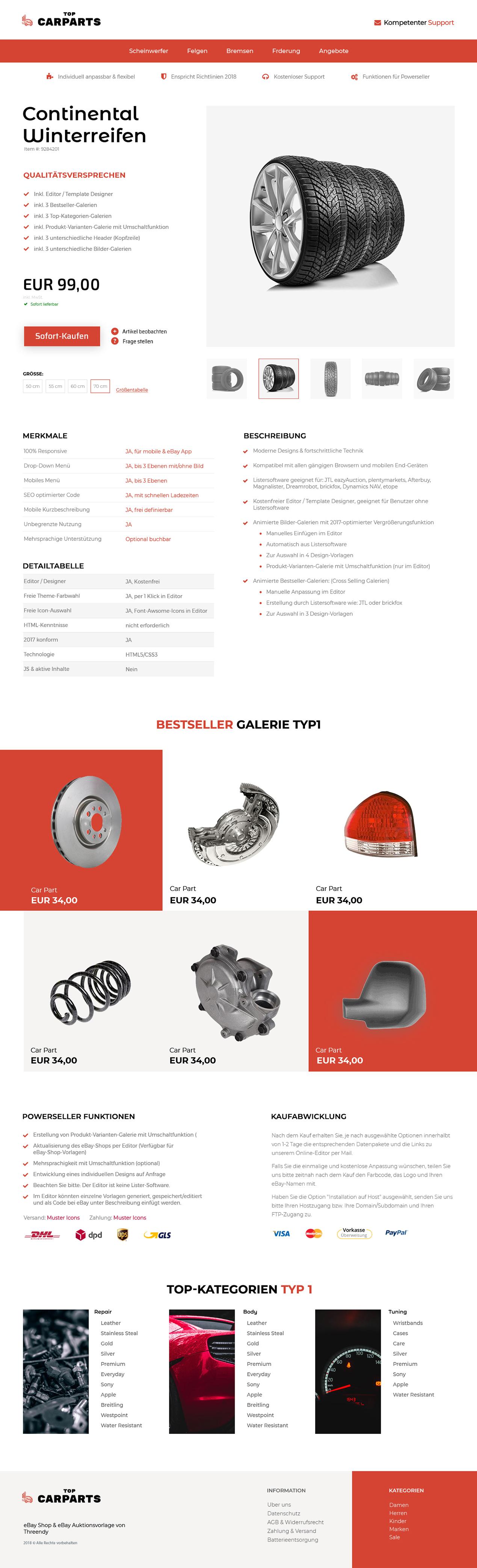 eBay-Vorlage für Autoteile- & KFZ-Branche
