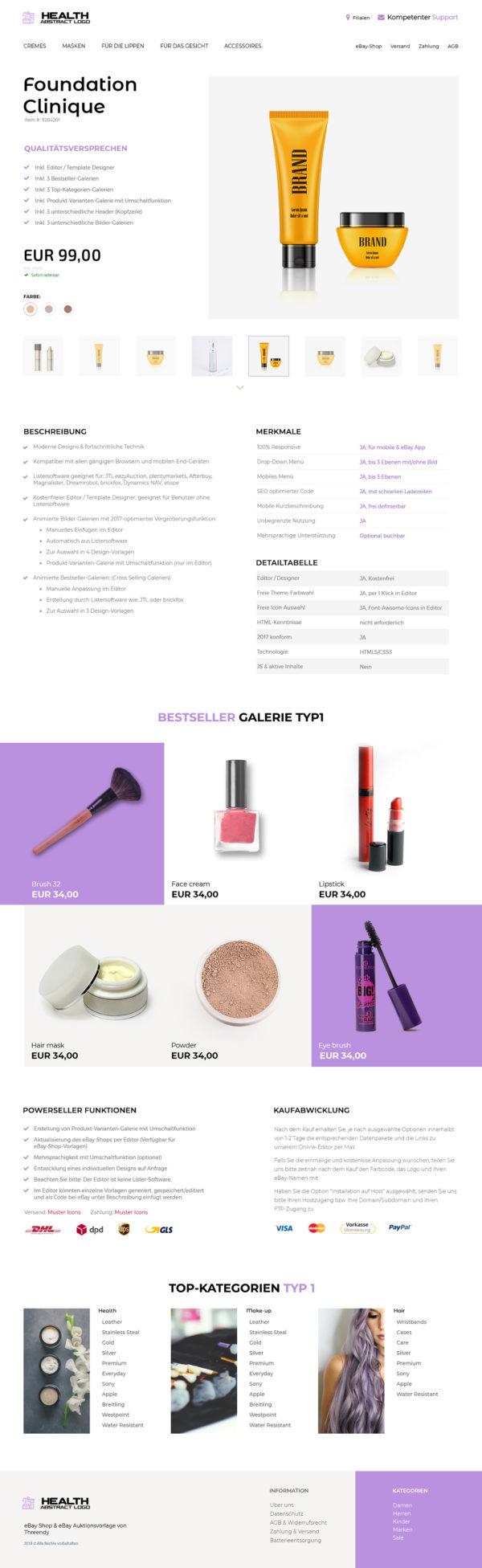 Beauty & Kosmetik Branche eBay Angebotsvorlage