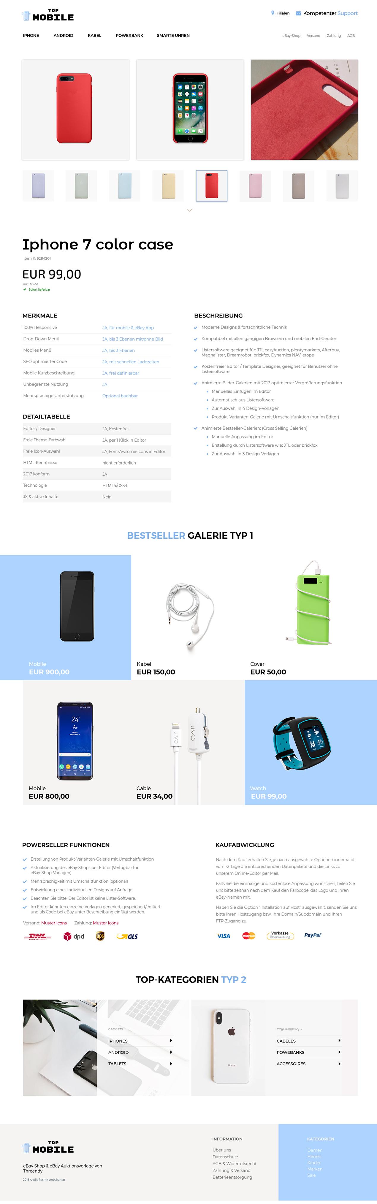 Produkt-Varianten eBay-Vorlage für alle Branchen