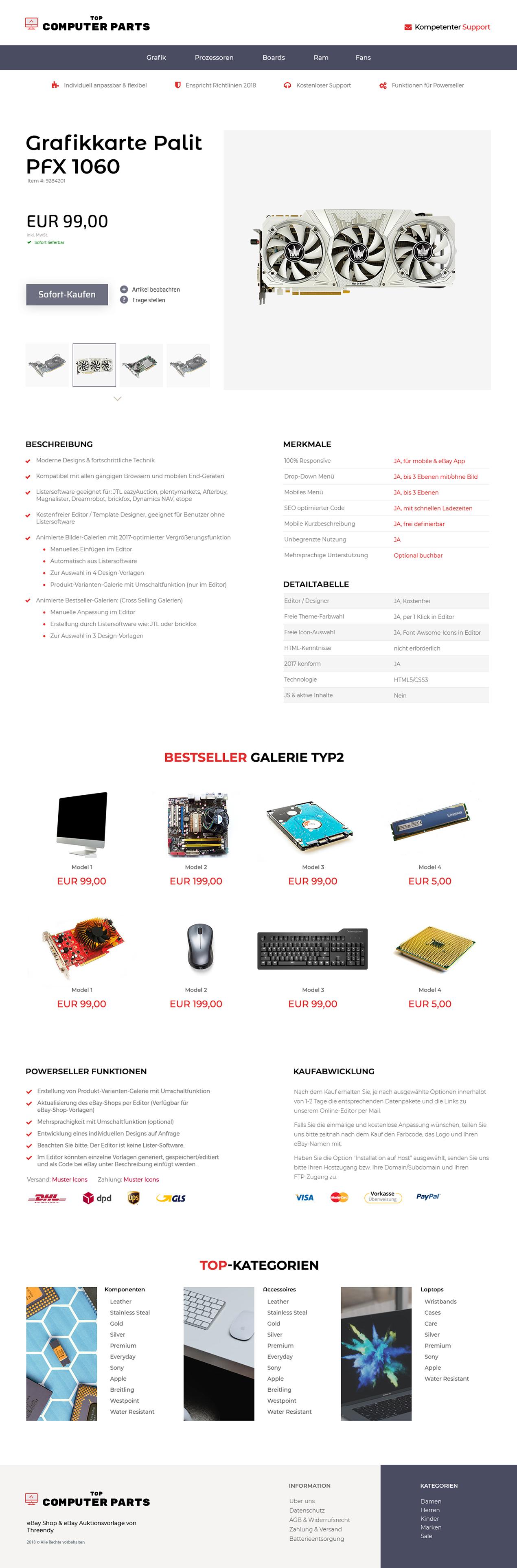 eBay Auktionsvorlage für PC & Computer-Teile Branche