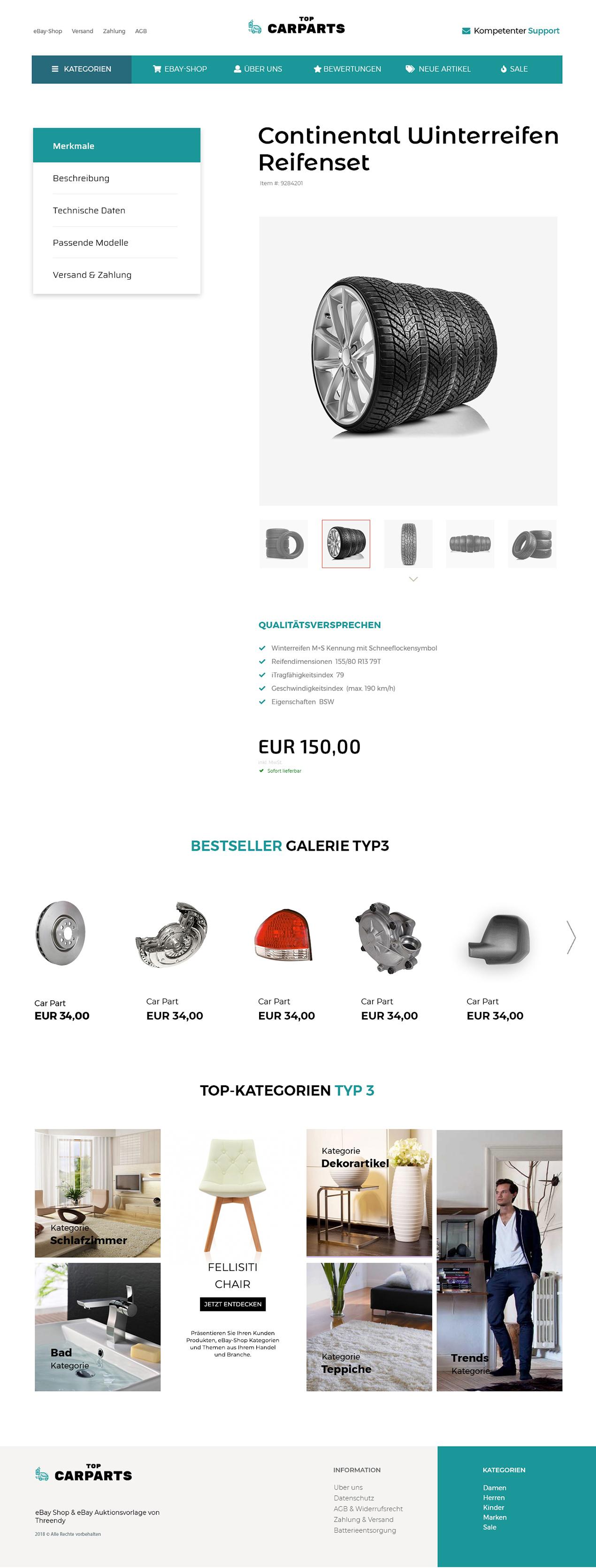 eBay Angebotsovrlage für Auto-Ersatzteile & KFZ-Teile